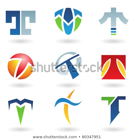 Blue Letter T with Rectangular Shapes Vector Illustration Stock photo © cidepix
