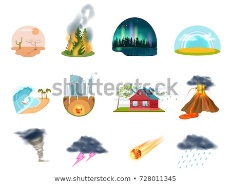 disaster icon collection fire earthquake and flood destroyed stock photo © popaukropa