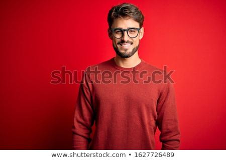 肖像 興奮した 男 立って 赤 ストックフォト © deandrobot
