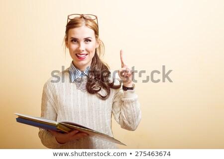 Сток-фото: учитель · открытой · книгой · точки · пальца