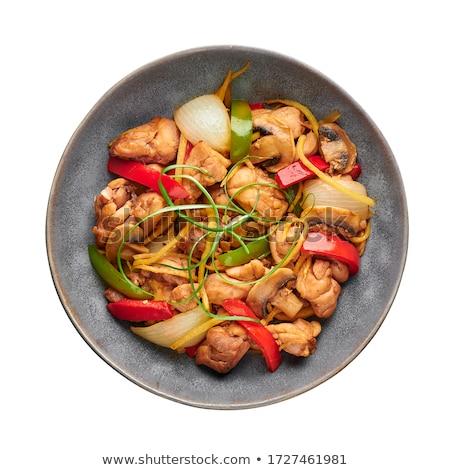 Hagyományos kínai thai tyúk citromsárga curry Stock fotó © dash