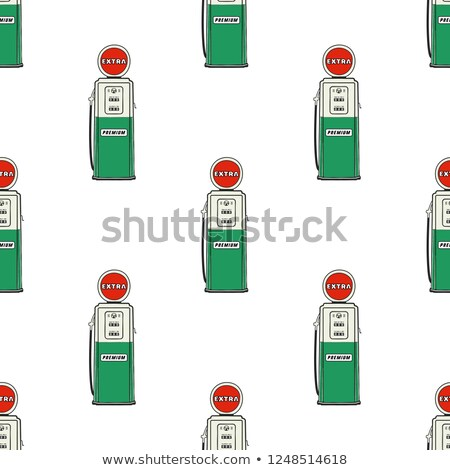 Stock photo: Gas station pump seamless design. Vintage hand drawn oil station pattern. Stock background isolated
