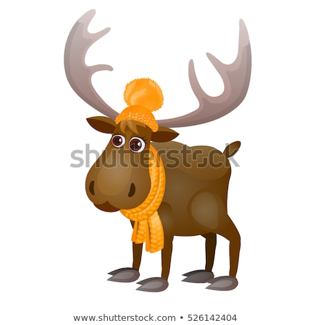 cute frozen cartoon moose in knitted scarf and hat isolated on a white background vector illustrati stock photo © lady-luck