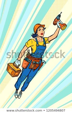 Donna trapano riparazione costruzione battenti Foto d'archivio © studiostoks