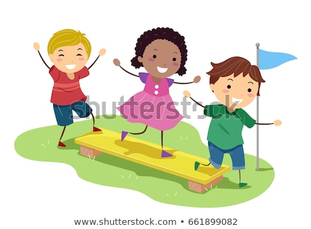 stickman kids obstacle plank balance illustration stock photo © lenm