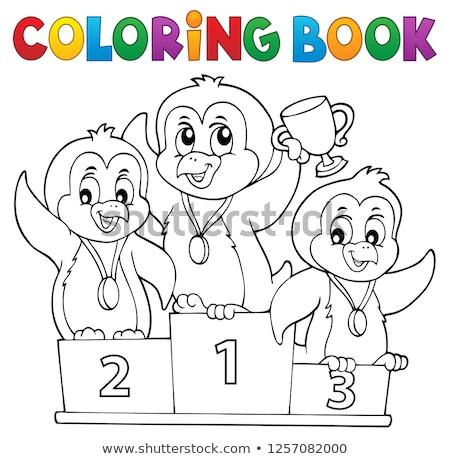 Livre de coloriage pingouin gagnants livre art oiseaux Photo stock © clairev