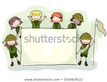 Menina escoteiro caminhadas natureza ilustração água Foto stock © bluering