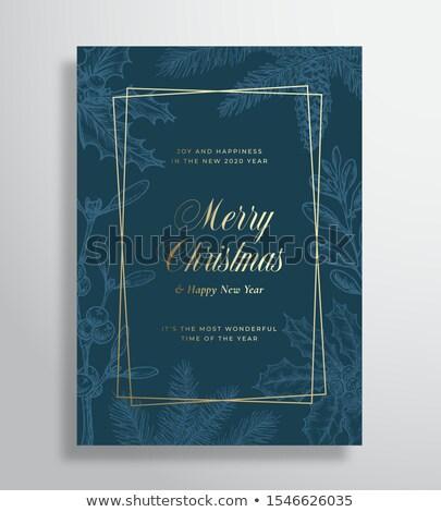 陽気な クリスマス 青 グリッター グリーティングカード 高級 ストックフォト © cienpies