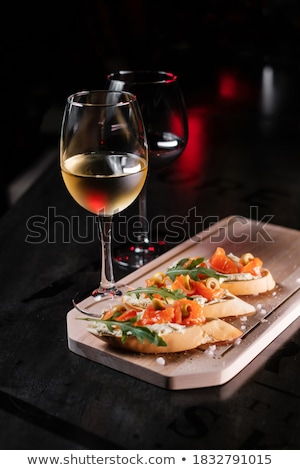 italian antipasti wine snacks set wine in glasses stock photo © illia