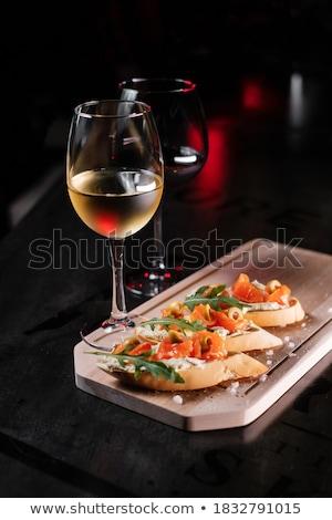 italian antipasti wine snacks set wine in glasses stock photo © illia
