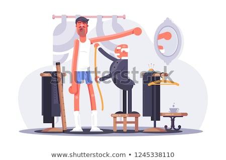 Cartoon tailor taking measures flat poster Stock photo © jossdiim