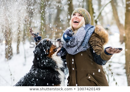 Woman with her dog hiking or walking in winter Stock photo © Kzenon