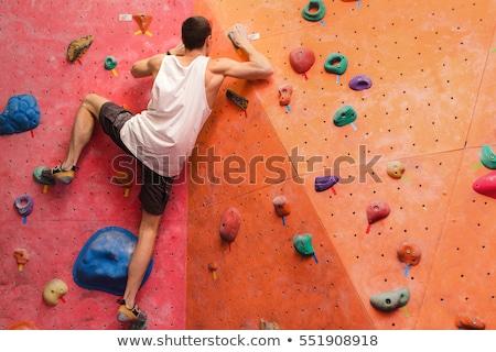 Homme escalade mur vue arrière aider Photo stock © Kzenon