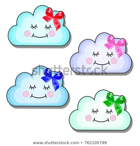 Ayarlamak komik gülen bulutlar şerit yay Stok fotoğraf © Lady-Luck