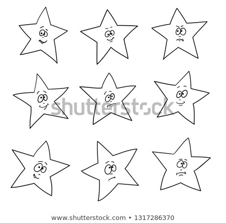 Cartoon faces emotions. Set of festive fun stars. Different hand drawing star shapes. Stock photo © ESSL