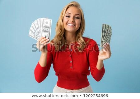 Portret szczęśliwy blond kobieta 20s Zdjęcia stock © deandrobot
