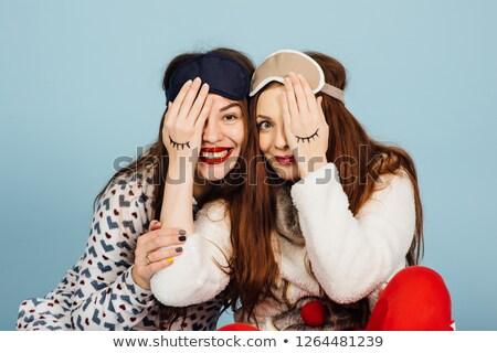 dois · risonho · pijama · dormir · máscara - foto stock © ruslanshramko