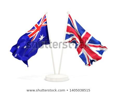 Two waving flags of UK and australia Stock photo © MikhailMishchenko