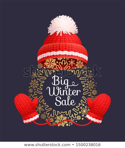 Big Winter Sale Poster Warm Red Hat Knitted Gloves Stock photo © robuart