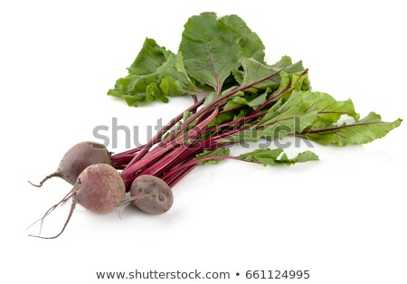 Group of chard with three beetroots on white background Stock photo © dla4