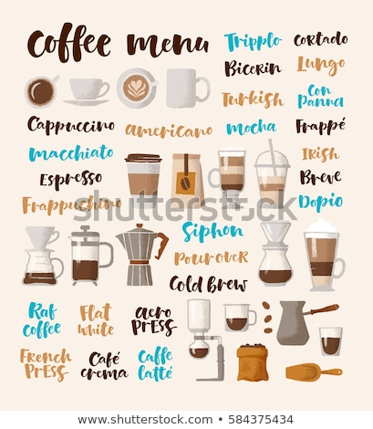 Americano lettering. Vector illustration of handwritten lettering. Vector elements for coffee shop,  stock photo © bonnie_cocos