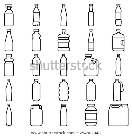 Foto stock: Botella · agua · leche · simple · icono · aislado
