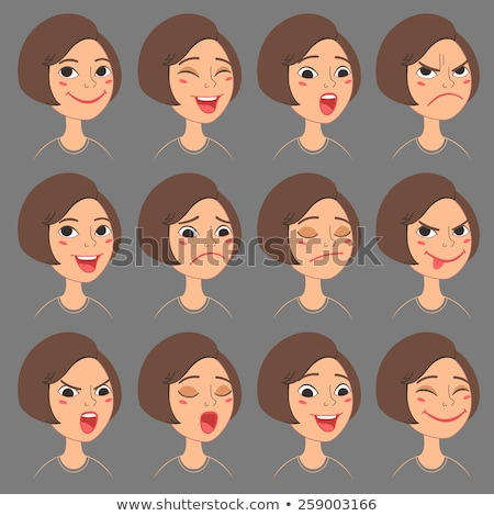 A cute bob cut female student expressing emotion set Stock photo © Blue_daemon