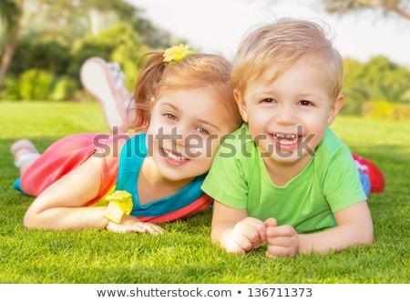 irmão · irmã · jogar · jardim · dois · preto - foto stock © lopolo