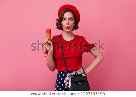 великолепный брюнетка женщину красный блузка белый Сток-фото © studiolucky