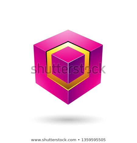 Magenta Bold Cube with Glowing Core Vector Illustration Stock photo © cidepix
