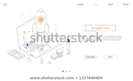 Startup - isometric line design style web banner Stock photo © Decorwithme