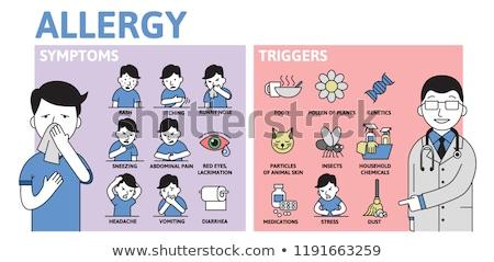 tüsszentés · személy · orrot · fúj · hűvös · időjárás · egészség - stock fotó © robuart