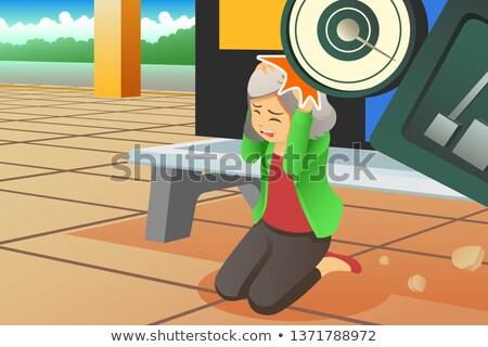 Weight Scale Falling on a Waiting Passenger Illustration Stock photo © artisticco