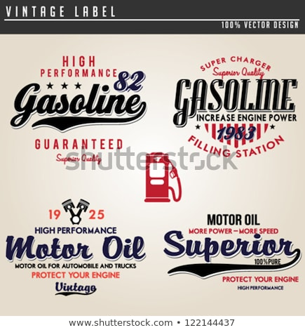 Kleur vintage tankstation embleem ontwerp communie Stockfoto © netkov1