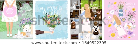 Happy Mothers Day family card set with children Stock photo © cienpies