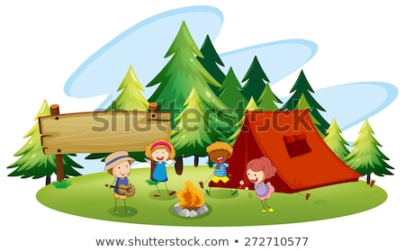 Scenes with kids camping in the park Stock photo © colematt