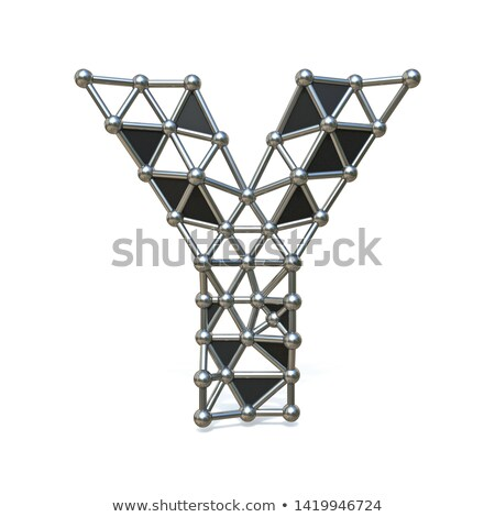 Wire low poly black metal Font Letter Y 3D Stock photo © djmilic