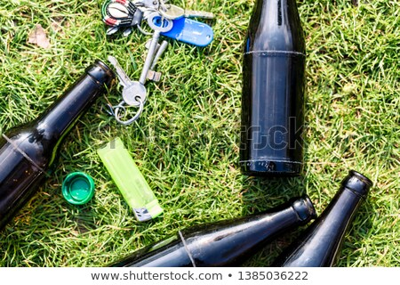 Alkol şişeler sigara çakmak tuşları çim Stok fotoğraf © Kzenon