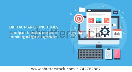 Marketing automatizálás üzenet pici emberek hirdet Stock fotó © RAStudio