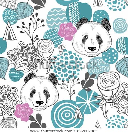 Pandas and pink roses seamless background Stock photo © shawlinmohd