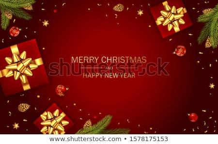 neşeli · Noel · bağbozumu · çelenk · kart · renkler - stok fotoğraf © frimufilms