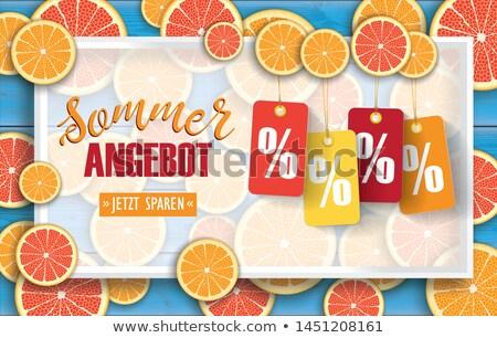 Sommer Angebot Price Stickers Blue Wood Orange Header Stock photo © limbi007