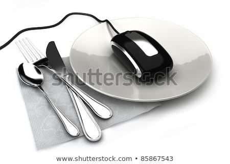 を 注文 食器 タブレット ビジネス コーヒー ストックフォト © ra2studio