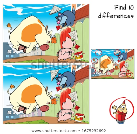 Stock photo: differences game with pigs animal characters