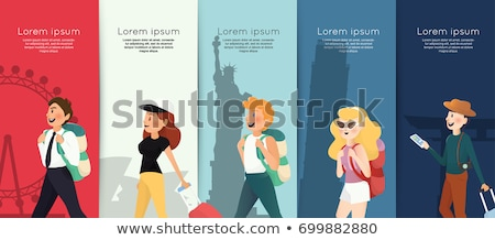 group of friends tourists with luggage vector stock photo © robuart