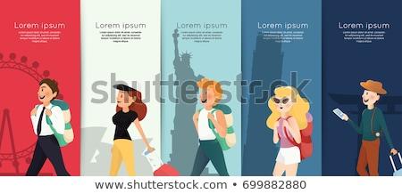 turisták · beszállás · repülőgép · lány · nők · férfiak - stock fotó © robuart