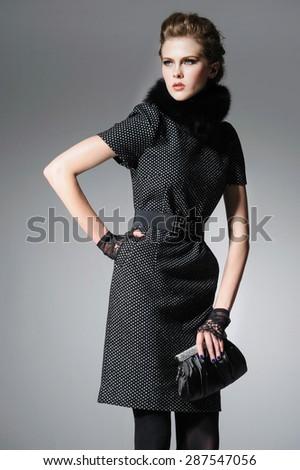 High fashion portre genç zarif kadın gri Stok fotoğraf © dashapetrenko