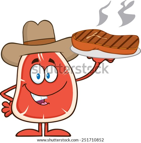 Cowboy Steak Cartoon Mascot Character Holding Up A Platter With Grilled Steak Stock photo © hittoon