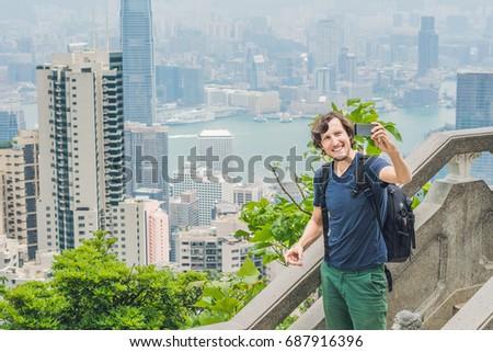 turistica · tram · Hong · Kong · albero · costruzione - foto d'archivio © galitskaya