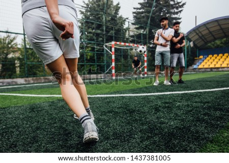 Youth Footballer Running With Ball on Training Time. Boys Improving Soccer Skills on Training School Stock photo © matimix